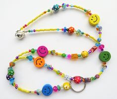 CHEERFUL SMILES- Beaded Id Lanyard Badge Holder- Millefiore, Wood, and Pearl Beads with a Rainbow of Glass Beads (Magnetic Clasp) by CJsInspirations on Etsy