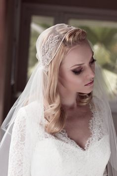 Rhinestone Embellished Juliet Bridal Cap Wedding by veiledbeauty
