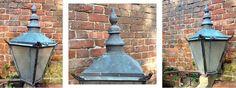 WWW.HUTCHISONANTIQUES.COM  AN ORIGINAL VICTORIAN COUNTRY HOUSE COPPER LANTERN WITH ORIGINAL WALL BRACKET