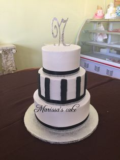 Black and white 18th birthday cake. Visit us Facebook.com/marissa'scake or www.marissascake.com