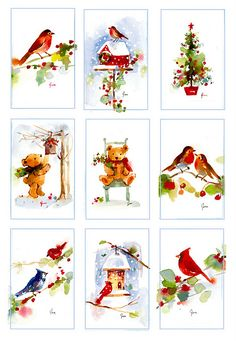 christmas watercolor miniatures