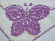 Vintage Butterfly Hankie Hand Crocheted by NEWtiques on Etsy, $5.00