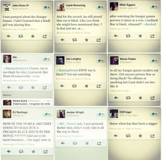 """""""Racist Hunger Games tweets"""" Upon release of character casting and premier of the movie, fan discourse included backlash against Rue as a black girl. Fans who did not approve of the idea were very open about their criticisms. The above picture captures some tweets of fans who addressed the """"issue"""" on twitter."""