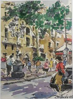 Barcelona. Joaquim Francés -ink & watercolor-