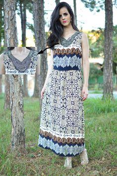 Vestido estampado estilo etnico/barroco