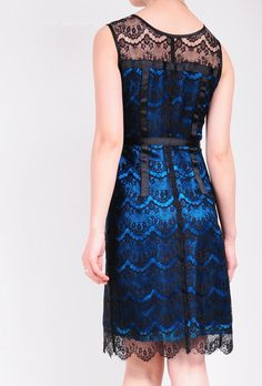 Luxury Indigo Blue Pure Silk Satin Black Eyelash Lace Sleeveless Pencil Formal Cocktail Dress. $269.80, via Etsy.