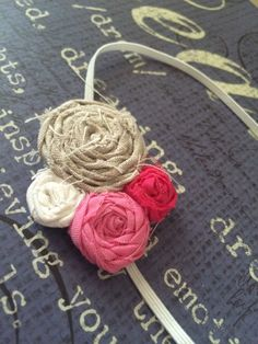 Tan, hot pink, white, and pink elastic headband by Sparklepretty1 on Etsy