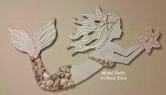 Mermaid Art Handmade Wood and Shell Mermaid Coastal Beach