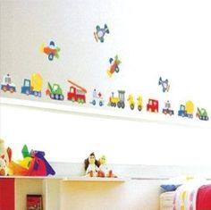 Amazon.com: Cars Airplanes Construction Trucks Wall Sticker Decal for Baby Nursery Kids Room: Baby