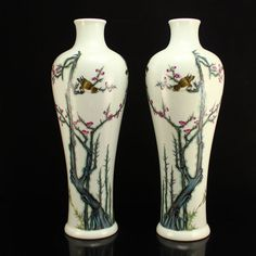 Pair Superb Chinese Qing Dy Famille Rose Porcelain Vase