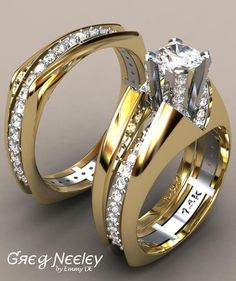 "Brilliant Luxury by Emmy DE * Greg Neeley Split Shank, ""V"" Top Princess Wedding Set"