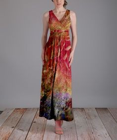 Red Surplice Abstract Maxi Dress - Plus Too