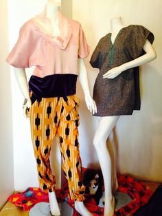 Wixun. (Left) Lace neckline with purple velvet. High waisted print jogger. (Right) tweed tunic.