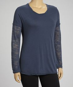 Take a look at this Charcoal Layered Long-Sleeve Tee - Plus by TROO on #zulily today!