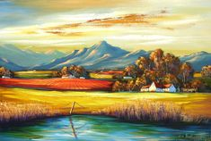 South African Contemporary and Upcoming Artist & Old Masters Art Gallery. African Paintings, Oil Paintings, Artist Painting, Painting & Drawing, Landscape Art, Landscape Paintings, Cape Dutch, Upcoming Artists, South African Artists
