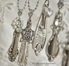 I'd eat with my fingers if I could turn all my silverware into such beautiful necklaces! ALMOST TRUE, it would need to be SOMEONE ELSE's silver :) LSE Fork Jewelry, Silverware Jewelry, Metal Jewelry, Beaded Jewelry, Vintage Jewelry, Handmade Jewelry, Cutlery, Handmade Necklaces, Soutache Jewelry
