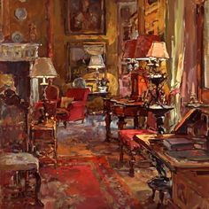 ◇ Artful Interiors ◇ paintings of beautiful rooms - Susan Ryder, RP NEAC (English) 'The Great Drawing Room'