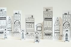 You can print these paper city and paper people out for free! Kids can color them too. Gorgeous.