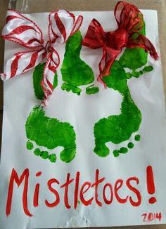 Mistletoes #footprint Christmas craft