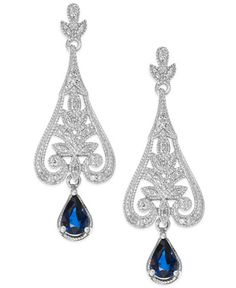 Sapphire (1-1/10 ct. t.w.) and Diamond (1/8 ct. t.w.) Drop Earrings in Sterling Silver
