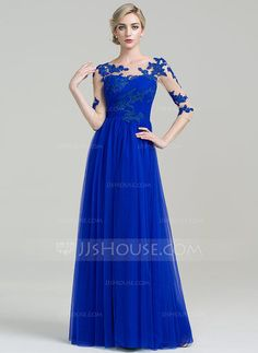 [US$ 163.49] A-Line/Princess Scoop Neck Floor-Length Tulle Mother of the Bride Dress With Ruffle Appliques Lace