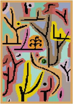 """Cross stitch pattern inspired on the painting """"Park bei Lu"""" from Paul Klee. This pattern is not an exact copy of the original. Colors and … The post Park bei lu cross stitch pattern appeared first on easy peasy stitches. Pdf Patterns, Cross Stitch Patterns, Paul Klee, Easy Peasy, Stitches, Original Paintings, Inspired, Park, Abstract"""