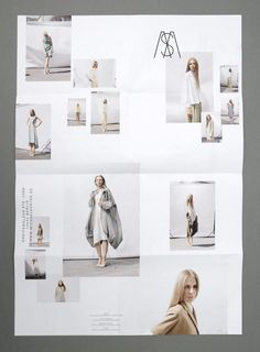 A minimal look book layout design. The blanc space is great, it makes sure all focus is in the photos&products. Brilliant graphic design.