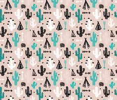 gender neutral soft blue and beige cactus and teepee botanical summer garden and indian arrow geometric grunge illustration pattern print - Cactus wallpaper and fabric available via Spoonflower designed by Little Smilemakers Studio