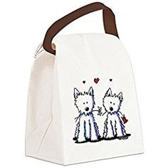CafePress - KiniArt Westie Friends Canvas Lunch Bag - Canvas Lunch Bag with Strap Handle