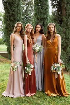 Multicolor velvet and crepe bridesmaid dresses by Jenny Yoo. Photo by This Modern Romance Multicolor velvet and crepe bridesmaid dresses by Jenny Yoo. Photo by This Modern Romance Printed Bridesmaid Dresses, Mismatched Bridesmaid Dresses, Wedding Bridesmaid Dresses, Bridesmaid Dress Colors, Warm Dresses, Spring Dresses, Mix Match Bridesmaids, Bridesmaid Inspiration, Marie