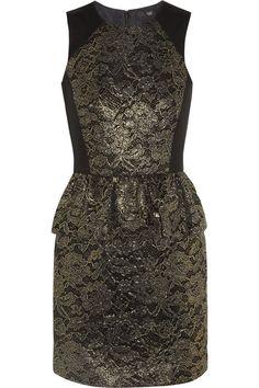 Tibi|Lace-appliquéd twill dress|NET-A-PORTER.COM