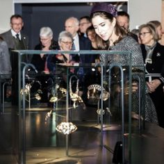 """Crown Princess Mary attended the official """"Jewel Box"""" exhibit which showcased a range of 20th century Danish jewelry from combs, brooches, bracelets, rings, necklaces, cufflinks and shoe buckles. <br><br>  Photo: Instagram/@detdanskekongehus"""