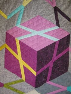 Close up, Cubes and Stars quilt by Barbara H. Cline.  Book available August, 2015.