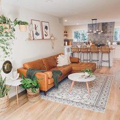 Boho Living Room, Living Room Sofa, Home And Living, Living Room Ideas Leather Couch, Leather Couch Decorating, Earthy Living Room, Living Room Seating, Bohemian Living, Cozy Living Rooms