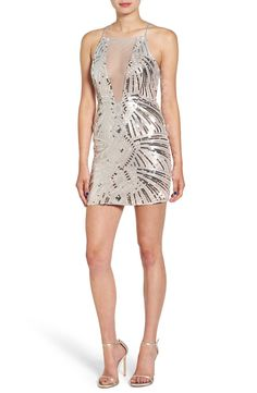 Illusion Neck Sequin Body-Con Dress
