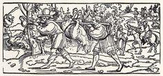 Title: Waldbruder mit Esel              Tags: Kuhmaul shoes, Hat, Landsknecht, Horse, Boots              Date: 1531                        Artist: Erhard Schoen              Provenance: Germany              Collection: Universitätsbibliothek