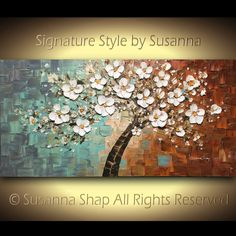 Original pintura paleta cuchillo paisaje pintura al óleo blanco flores cerezo árbol de la vida por Susanna