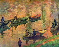 Claude Monet - Fishermen on the Seine at Poissy Large Canvas Print