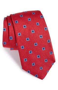 Men's Ike Behar 'Twill Ground Neat' Medallion Silk Tie