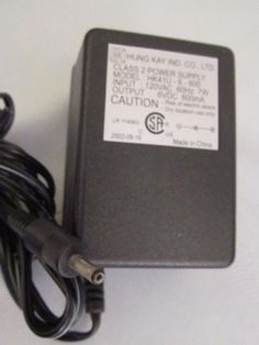 Genuine Hung Kay HK41U-6-600 Class 2 AC/DC Power Supply 6VDC 600mA -(+) 5.5mm Specification: Con
