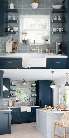 Wonderful Kitchen Cabinet Design Ideas & Unique Kitchen modern kitchen decor inside, Blue and white color scheme Diy Kitchen Remodel, Home Decor Kitchen, Home Kitchens, Blue Kitchen Ideas, Kitchen Themes, Kitchen Stuff, Ideas For Small Kitchens, Small Kitchen Designs, Blue Green Kitchen