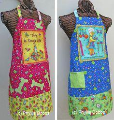 "» FREE APRON PATTERN – apron made with ""Its a Dog's Life"" fabrics"