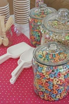 Having a sleepover for the kids? Have a cereal bar waiting for them! You can even do this as everyday storage. It makes your counter look festive and fun.