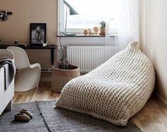 Chunky merino wool grey Knit bean bag / Kids' bean bag by GieMarGa