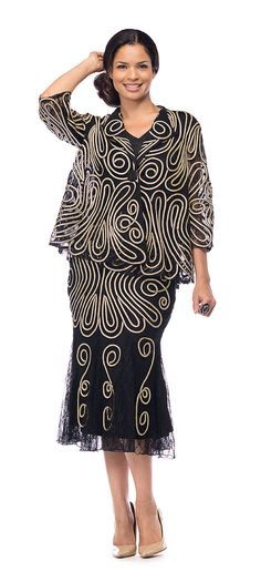 aa9105c185 3 piece Moshita skirt suit in mesh ribbon fabric. Great church suit