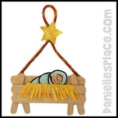 "Baby Jesus in a Manger Christmas Craft Stick  Bible Craft  from www.daniellesplace.com This would work well with the ""Birth of Jesus"" story at http://missionbibleclass.org/1b0-new-testament/new-testament-part-1/life-of-christ-early/birth-of-jesus/"