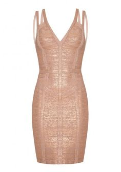 Forever Unique - 'Bryony' Foiling Effect Panelled Bandage Dress Rose/Gold | Foiling effect panelled bandage dress with multi strap detail and plunge neckline.