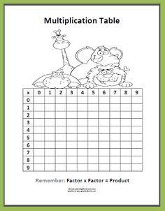 Classroom Freebies: Multiplication Table Freebie