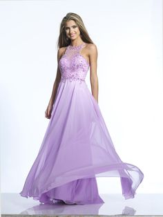 Dave and Johnny 2124 Flowing Chiffon Prom Gown - French Novelty