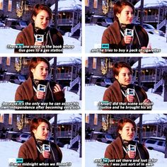 Shailene Woodley talking with MTV about the filming of tfios while she was in Park City, Utah for the Sundance Film Festival.